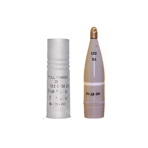122 mm Round I-122-F with Full Variable Charge and Illuminating Projectile I-122 (ILLUM) For 122 mm Howitzers D-30 and 2S1