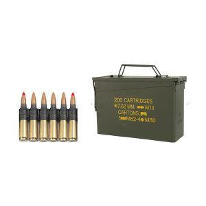 7.62x51 mm M 80 cartridge with bullet type (FMJ/SC) Ball - 4 cartridges and 7.62 x 51 mm cartridge M62 with bullet type Tracer - 1 cartridge